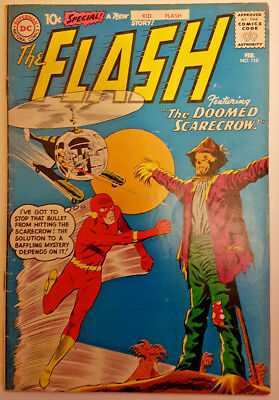 """THE FLASH Vol.1 #118 (FEB 1961) """"THE DOOMED SCARECROW"""" SILVER AGE DC COMICS!"""