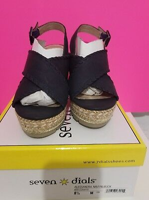 bb290dfdc568 Seven Dials Womens Espadrille Criss Cross Wedge Sandals Navy Blue .Size 8.5.