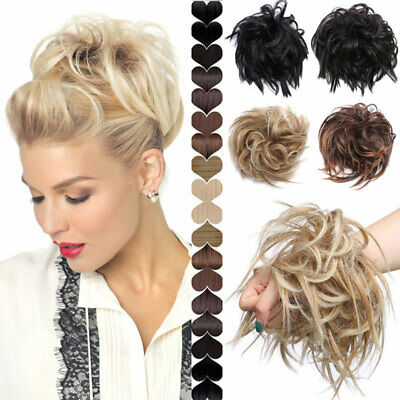 Messy Blonde Bun Updo Curly Hairpiece Real Scrunchy As Human Hair Extensions MXT