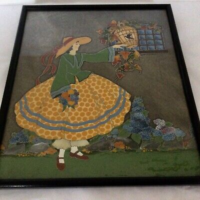 Antique Vintage Crinoline Lady Bird Cage - Butterfly Wing Large Picture - Fab