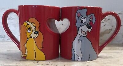 DISNEY LADY & the TRAMP Two Red Heart Ceramic Coffee Mugs New