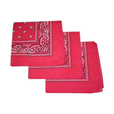 3 Hot Pink Cotton Bandanas Large Cowboy Paisley Bandanas Neck Band Biker Bandana