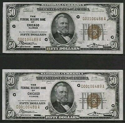 ☆National Currency-Fifty $50.00-Series 1929 - AU-UNC -BANK CHICAGO-2 CONSECUTIVE