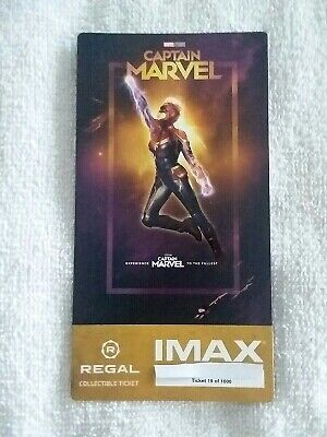 Captain Marvel Collectible #19 of 1000 Week 1 Regal IMAX Ticket Brie Larson