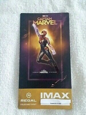 Captain Marvel Collectible #22 of 1000 Week 1 Regal IMAX Ticket Brie Larson