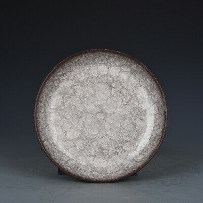 """7"""" Fine Chinese old Porcelain Song Dynasty guan kiln open slice circular plate"""
