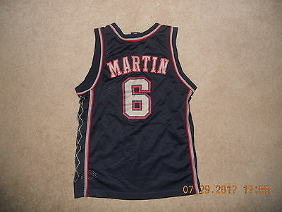 4646c02cfc2 New Jersey Nets Basketball Jersey #6 Kenyon Martin Nike Away Blue Sewn Youth  Med