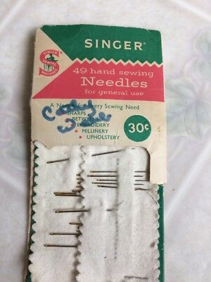 Vtg SINGER Hand Sewing Needles Assortment Partial Package - Made in England