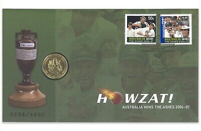 Australia Wins The Ashes 2007 Howzat Cricket $1 UNC Coin & Stamps PNC Cover