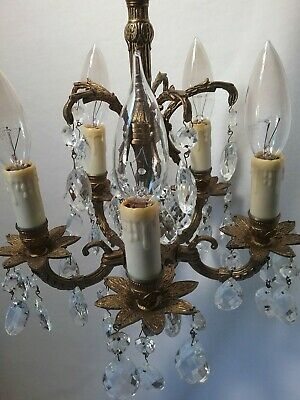 """Vintage VERY PETITE CHANDELIER Brass Crystal 10.5"""" Wide  5 Lights 5 Arms EUC"""