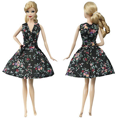 Fashion Black Flower Countryside Floral Dress Outfit Clothes For 11.5 inch Doll