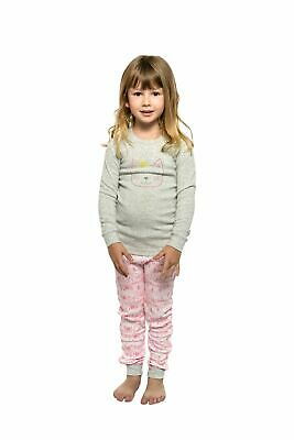 Girls PJs Size 1-7 Marquise Cotton Long Sleeve Pyjamas Grey Cat Pink City (300)