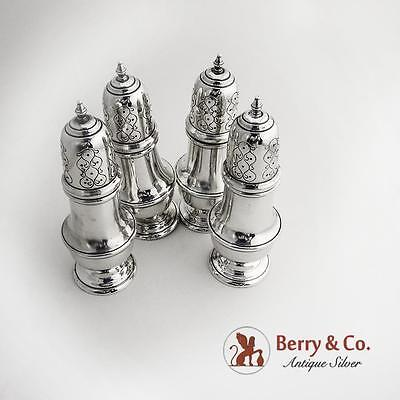 Set of Four Large Salt Pepper Shakers Sterling Silver 1930