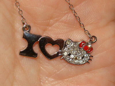 """HELLO KITTY SANRIO  STERLING SILVER  I LOVE HK FACE  PAVE CRYSTAL Necklace 18""""L"""
