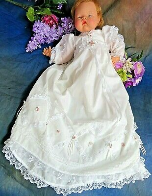 """VINTAGE handmade DOLL CLOTHES long CHRISTENING gown & dress set BYE-LO baby 20"""""""