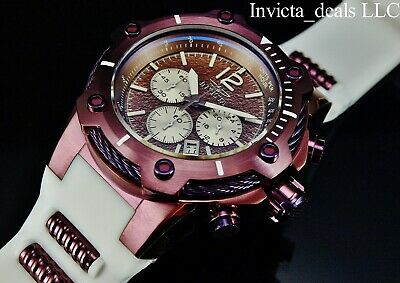 Invicta Men's 50mm Mighty Bolt Brown Sea Urchin Chronograph SS Poly Strap Watch