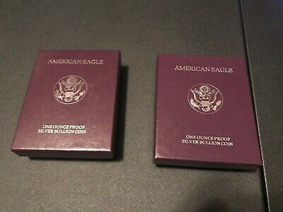 1991-S and 1992-S American Silver Eagle Proof Silver Coins W/OGP & COA