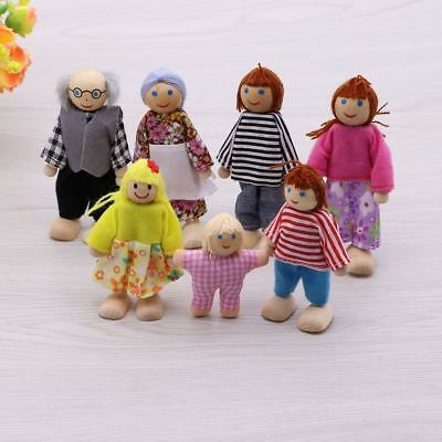 Wooden Furniture Dolls House Family Miniature 7 People Doll Kids Child Toys Gift