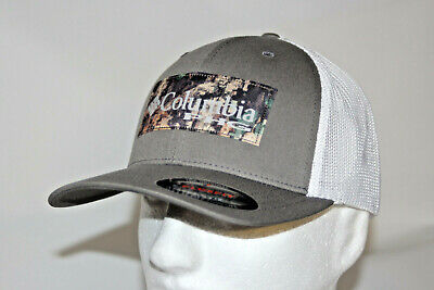 db9fe3819bab3 Columbia PHG Camo Patch Mesh Flexfit Ball Cap in Titanium and Camo Patch L  XL