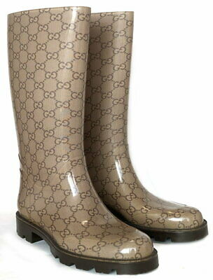 3999f8561 Authentic GUCCI Rain Boots 37 US6.5 GG Beige Womens Brown Rubber Boots