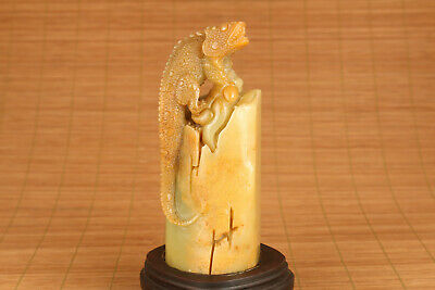 unique chinese old shoushan stone lizard statue home decoration wood stand