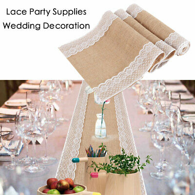Natural Burlap Lace Hessian Table Runner Wedding Banquet Party Home