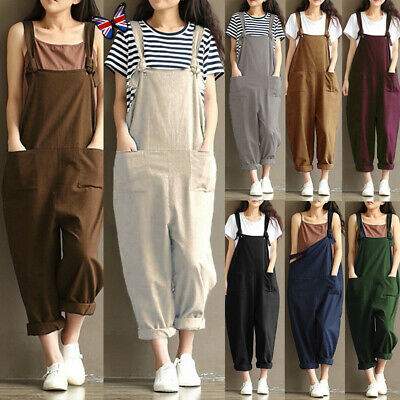 b68c87a4afcb Women s Casual Loose Linen Cotton Jumpsuit Dungarees Playsuit Trousers  Overalls