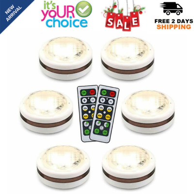 6 Pack LED Wireless Puck Light with Remote Control Multi Color Under Cabinet