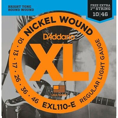 D'Addario EXL110-E : Light Electric Guitar Strings Bonus High E String (10-46)