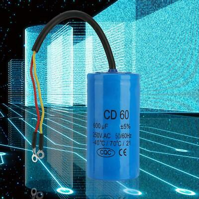 400/600uF CD60 Capacitor w/ Wire Lead for Motor Air Compressor 250VAC 50/60Hz