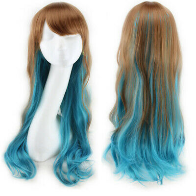 Lady 80cm Long Curly Cosplay Costume Hair Anime Full Wavy Party Wigs Brown blue