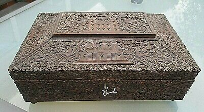 Rare Stunning Antique 19Th C Anglo Indian Carved Sandalwood Sewing Box Complete