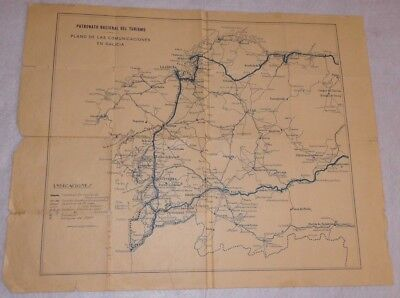 Vintage Map Pnt Communications in Galicia First of Century Xx. Curious