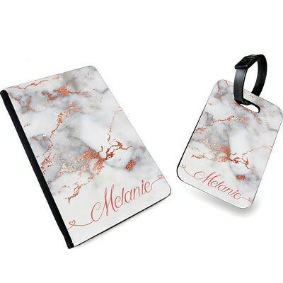Personalised NAME MARBLE Print PU Leather Passport Cover & Luggage Tag- 0031