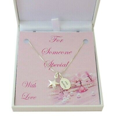 Sterling Silver Star Necklace with Personalised Engraving in Special Gift Box