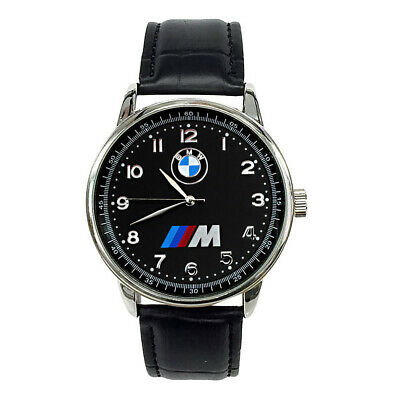 BMW Mens Stainless Steel Black Dial Black Leather Strap Sport Watch
