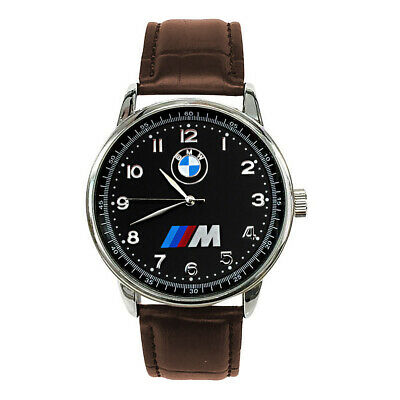 BMW Mens Stainless Steel Black Dial BROWN Leather Strap Sport CAR Watch