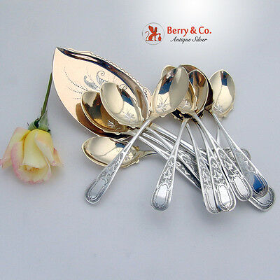 Ice Cream Set 12 Spoons 1 Server Ivy Pattern Sterling Silver 1870