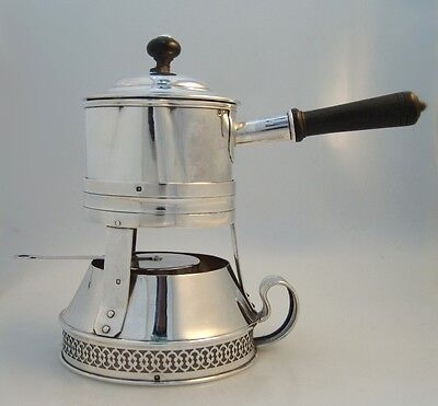 French 950 Sterling Silver Brandy Warmer With Lathed Wooden Handle 1915