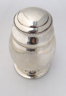 Arts and Crafts Hammered Tea Caddy Danish 830 Silver 1919