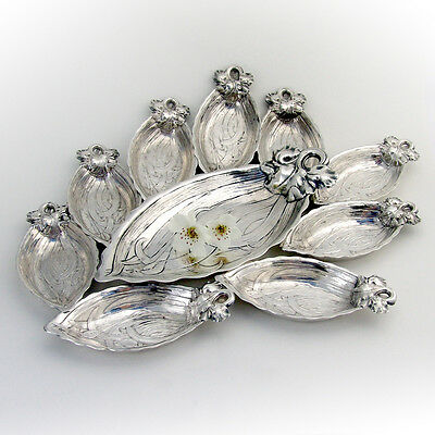 Iris Serving Dish And Iris Cup Place Card Holder Set Sterling Gorham 1900
