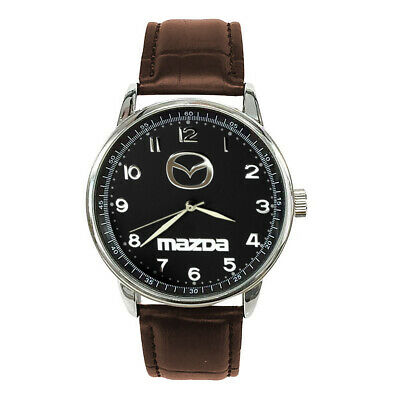 Mazda Mens Stainless Steel Black Dial BROWN Leather Strap Sport CAR Watch