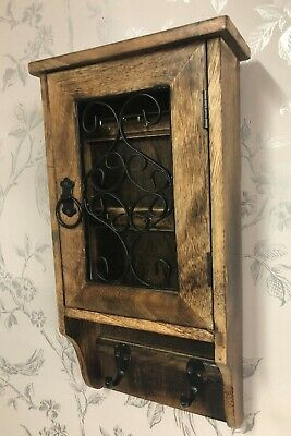 Antique Design Hand Carved Wooden Key Box & Coat Hooks MH3A