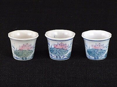 Set of Three (3) Miniature Hand Painted Lotus Chinese Pots Dollhouse Collectible