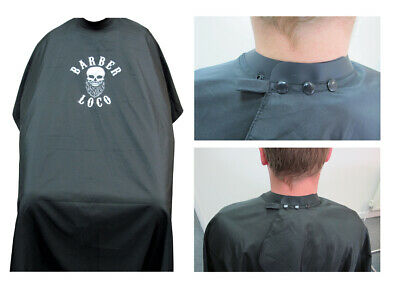 Barber Loco Black Neoprene Collar Cape Barbers/Salon Cutting Gown, Keep Hair Out