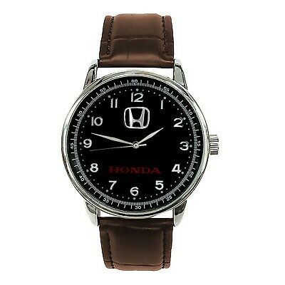 HONDA Mens Stainless Steel BLACK Dial BROWN Leather Strap Sport CAR Watch
