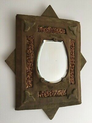 Antique Victorian Edwardian Faded Aged Velvet Mirror Bevelled Shabby 42cm m158