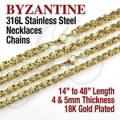 """Byzantine box 18K Gold Plated Stainless Steel 316L Chains Necklaces 14-48"""" 4-5mm"""