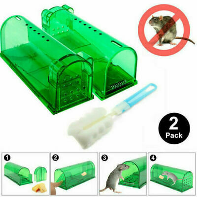2 green Humane Mouse Trap Live Catch and Release Smart No Killing Reusable Mice