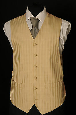 W - 1084. Men's/Boy's Two-Tone Gold Wide Stripe Wedding Waistcoat/ Dress / Suit